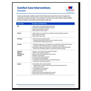 INTERACT - Comfort Care Order Set - Free Download