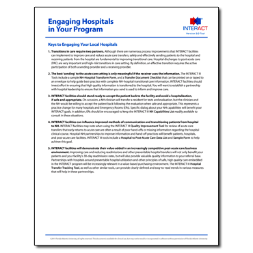 INTERACT - Engaging Hospitals in Your Program - Free Download