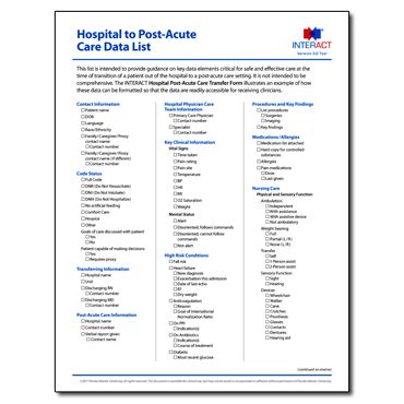 INTERACT - Hospital to Post-Acute Care Data List