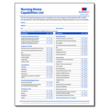INTERACT - Nursing Home Capabilities List - Free Download
