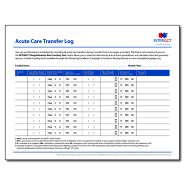 INTERACT - Acute Care Transfer Log
