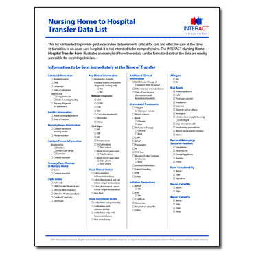 INTERACT - Nursing Home to Hospital Transfer Data List - Free Download