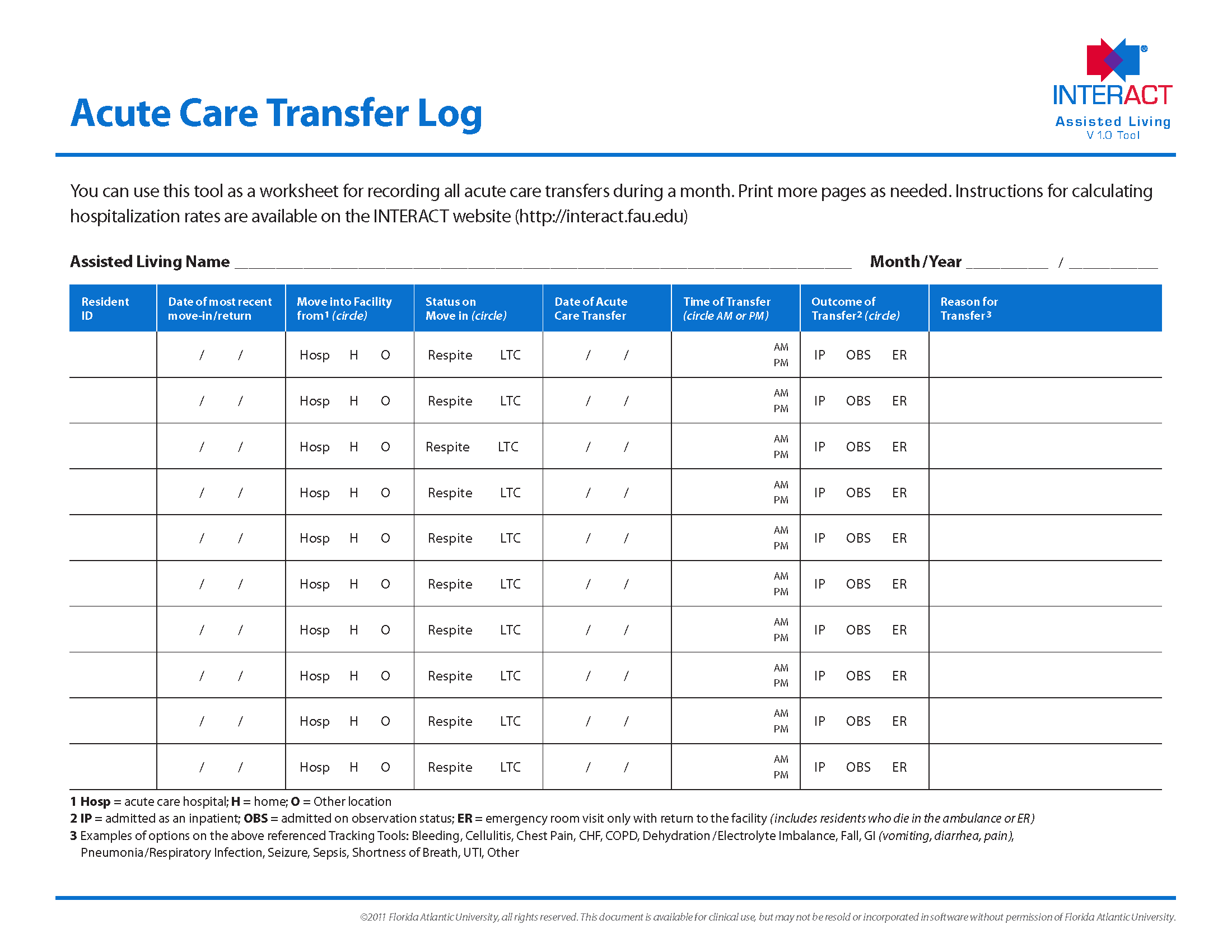 Acute Care Transfer Log Assisted Living
