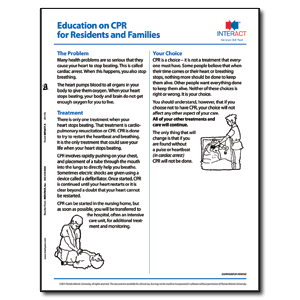 Education on CPR for Residents and Families