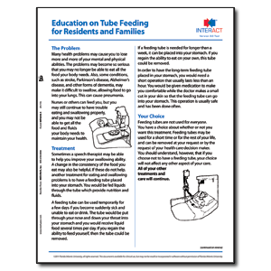 Education on Tube Feeding for Residents and Families