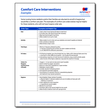 INTERACT - Comfort Care Order Set - Free Download