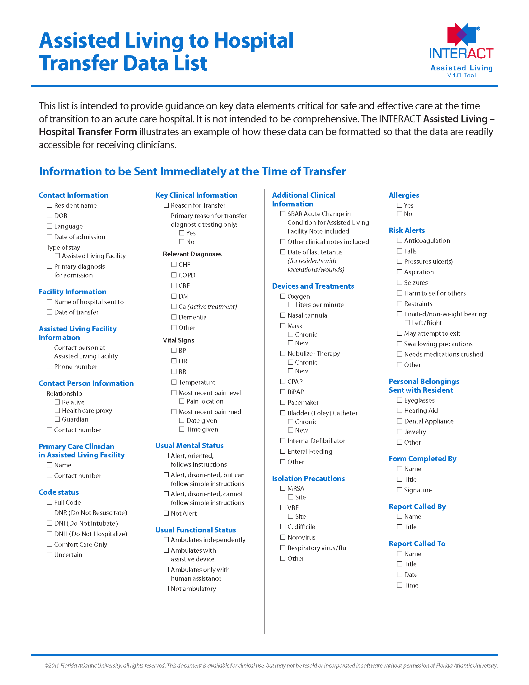 INTERACT Assisted Living to Hospital Transfer Data List
