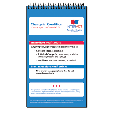 INTERACT Change in Condition/Care Paths Pocket Guide for AL